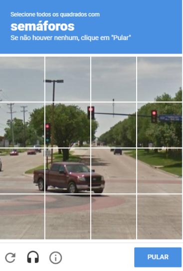 exemplo de recaptcha com imagens de um semáforos