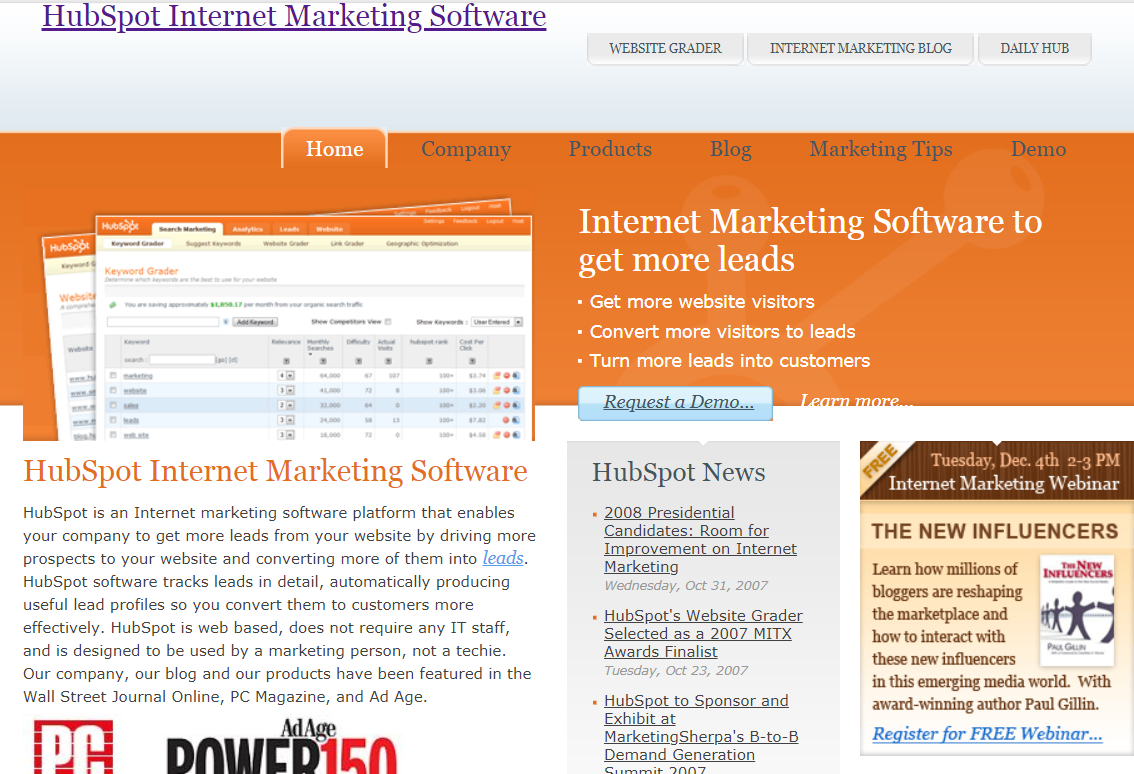 hubspot homepage before inbound marketing