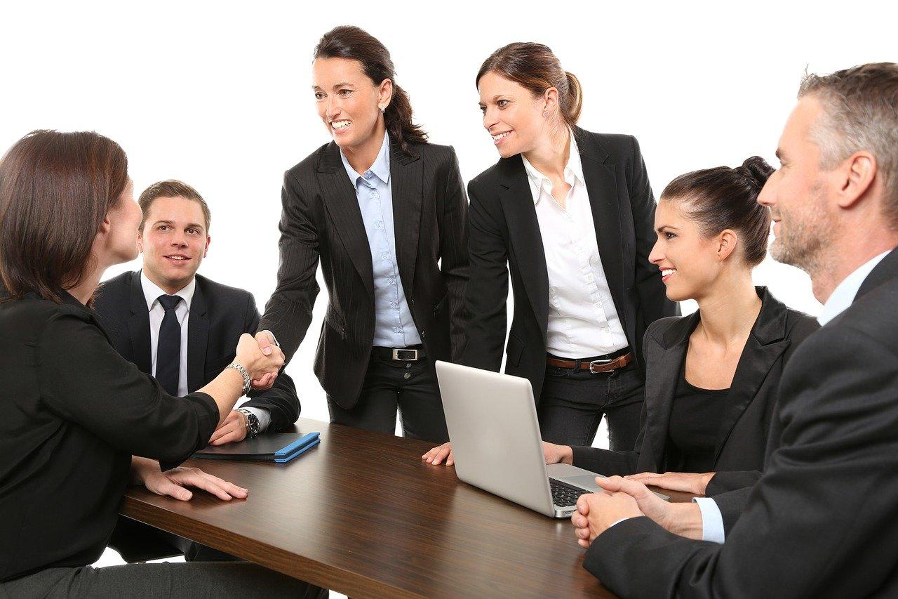a meeting and conversation between employees