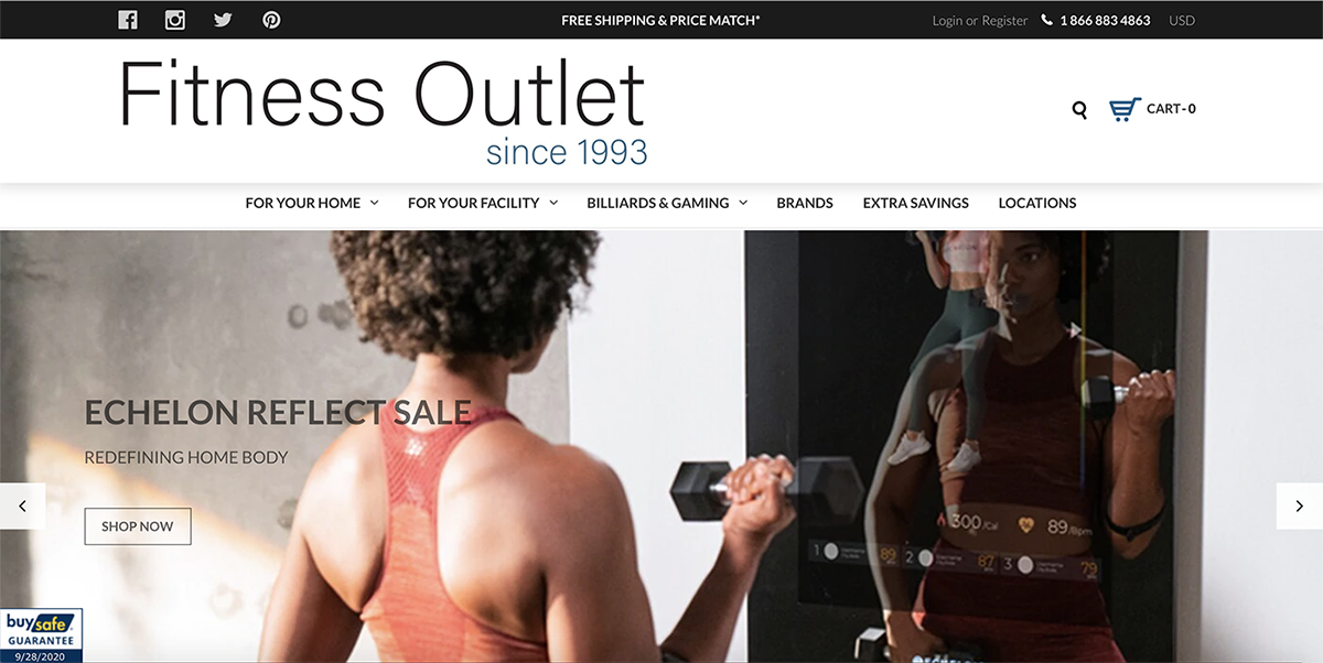 Fitness Outlet Website Screenshot