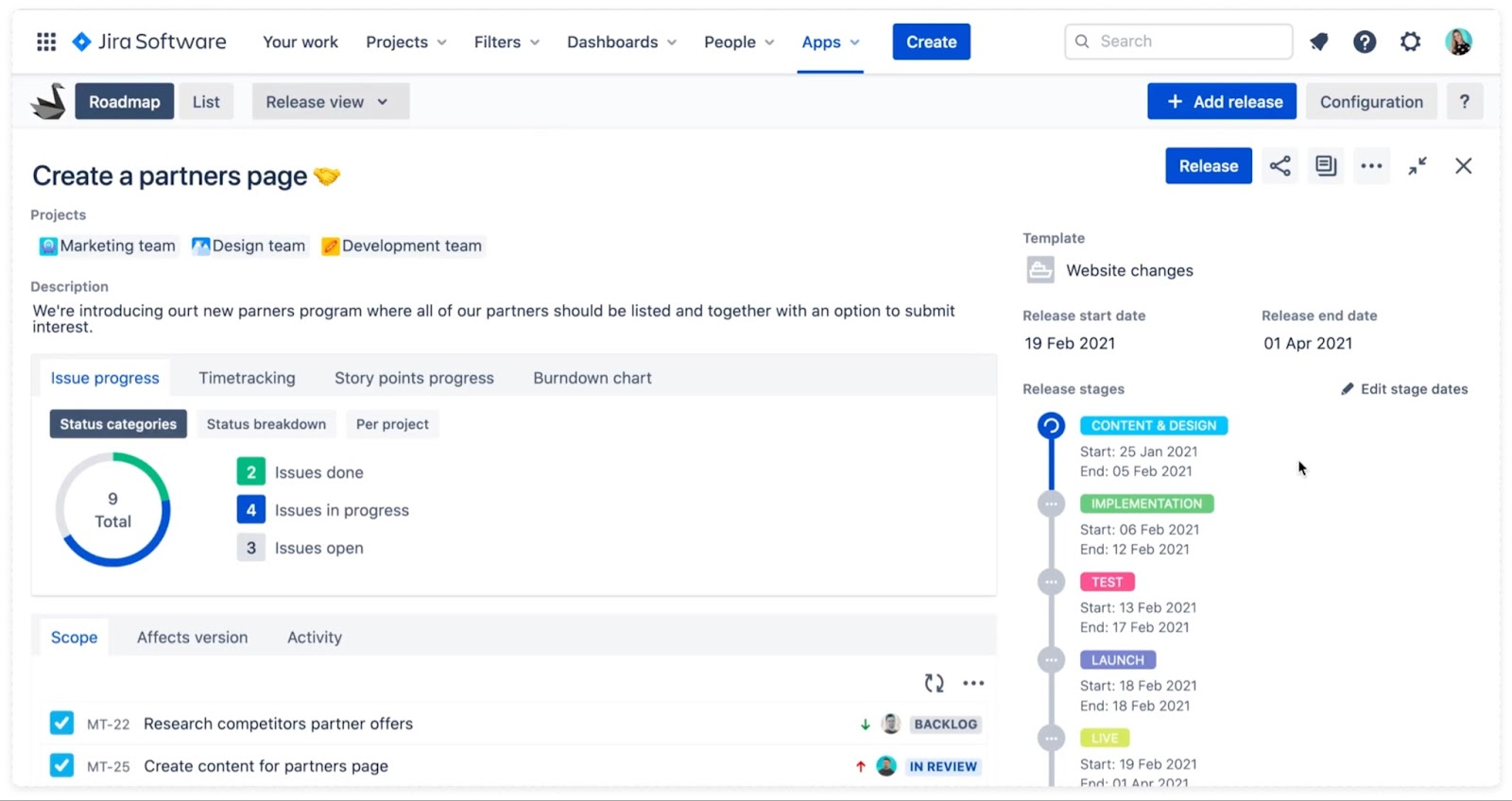 Swanly cross-project report view for Jira release