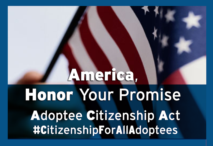 """Support the Adoptee Citizenship Act. #CitizenshipForAllAdoptees. [Upclose image depicting handheld USA flag, text overlay """"America, Honor Your Promise. Adoptee Citizenship Act #Citizenship For All Adoptees""""]"""