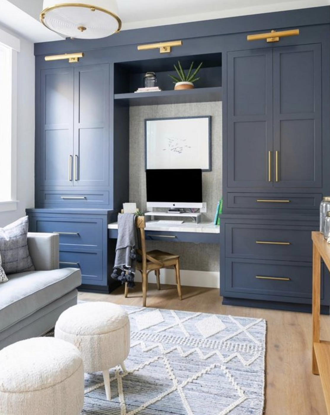 built in cabinets desk drawers lighting cobalt blue buckhead