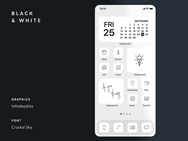 A black and white aesthetic all over the iPhone home screen