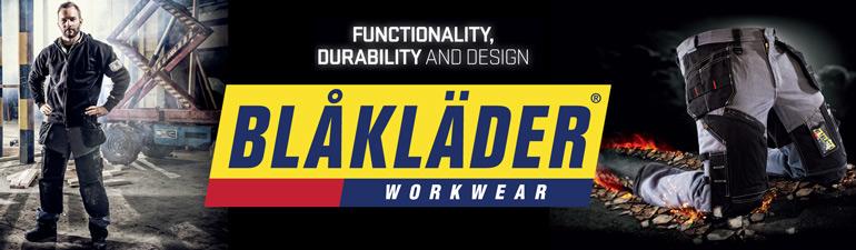 Blåkläder Workwear banner. Functionality, durability and design.
