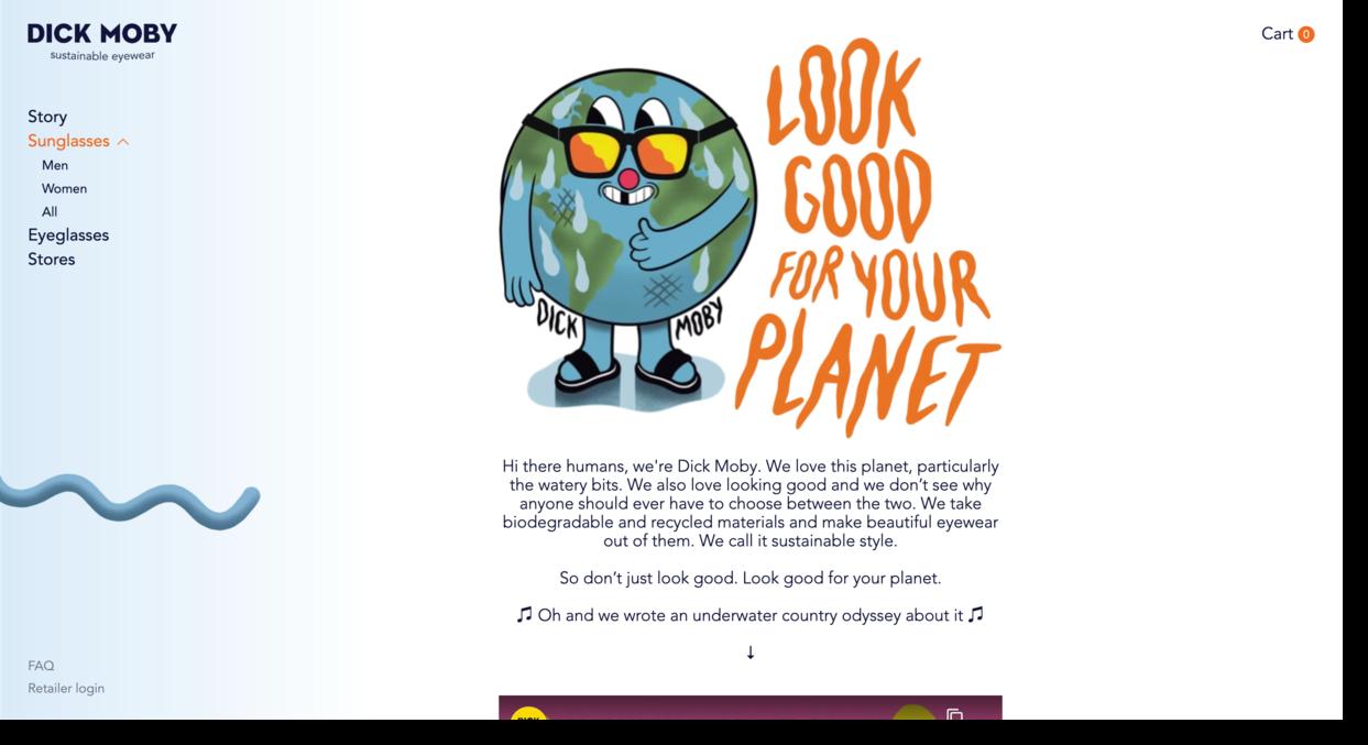 Dick Moby website screenshot eyewear company