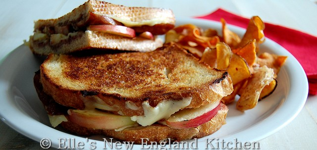Grilled Cheese with Smoked Sausage, Raspberry Mustard and Sliced Apple