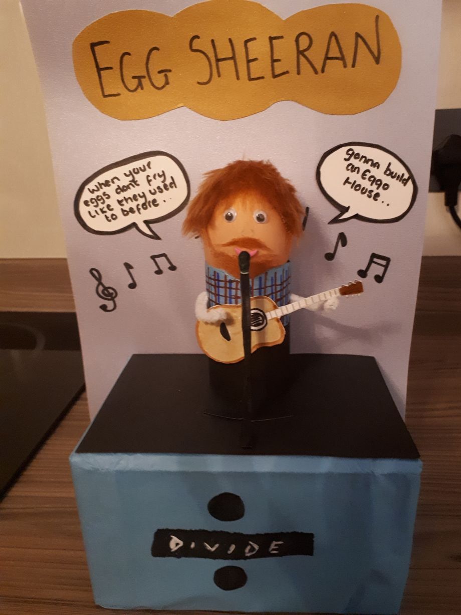 "Jay Sherburn, age 9, of Gateshead created ""Egg Sheeran"" for Caedmon Primary School's Easter Egg competition"