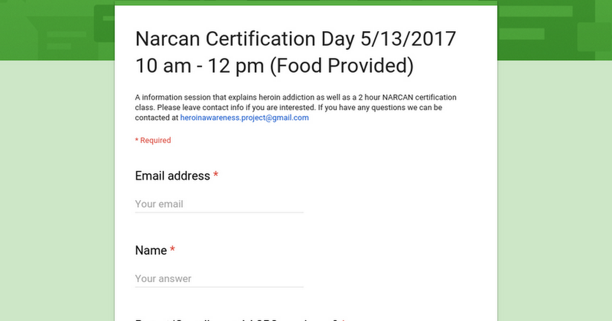 Narcan Certification Day 5132017 10 Am 12 Pm Food Provided