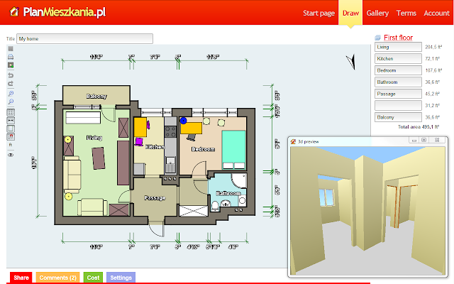 Floor plan maker for 3d virtual tour house plans