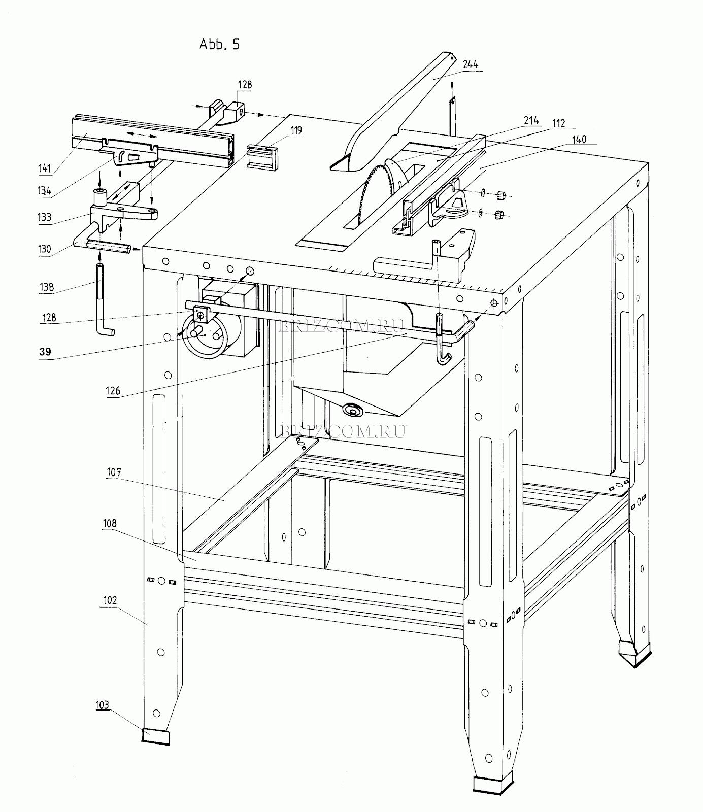 Примерный чертеж конструкции фрезерного столика