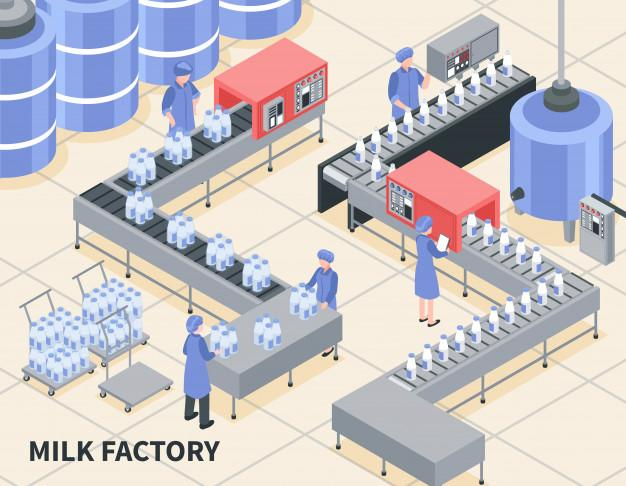 Process of milk packing on factory isometric illustration Free Vector