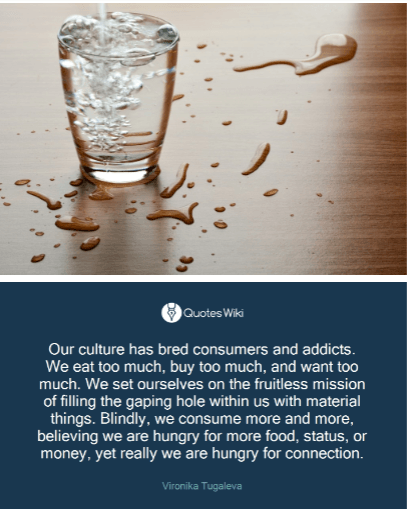 quote - our culture has bred consumers and addicts. We eat too much, buy too much, and want too much. We want more ... but we are really hungry for connection.
