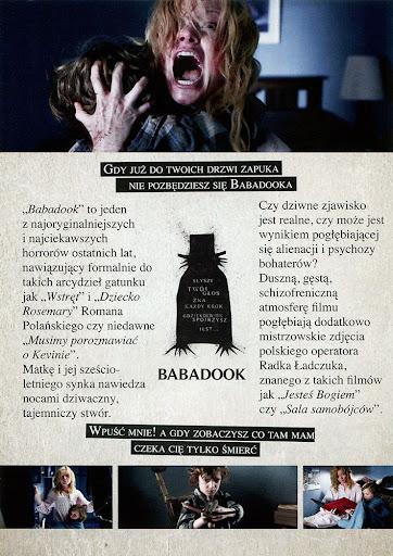 Tył ulotki filmu 'Babadook'