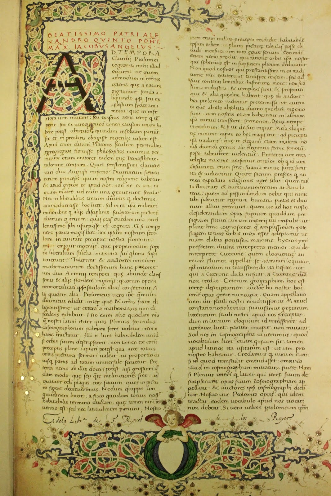 Fotografía de una página del libro Atlas de Ptolomeo