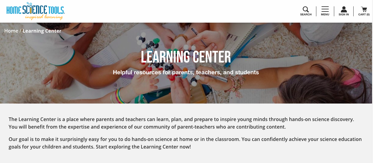 BigCommerce SEO: The Learning Center is hosted on another URL.