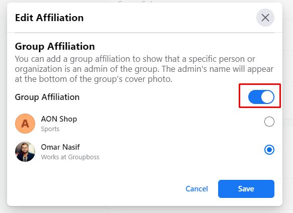 Simple steps to make affiliation of Facebook groups with profiles and pages
