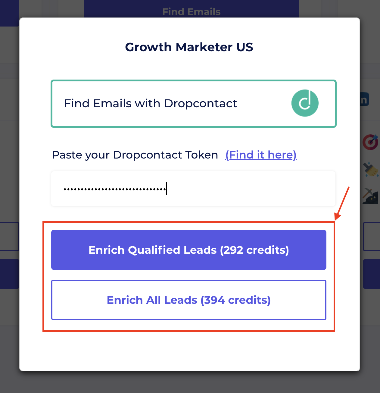 enrich leads from sales navigator in evaboot with dropcontact