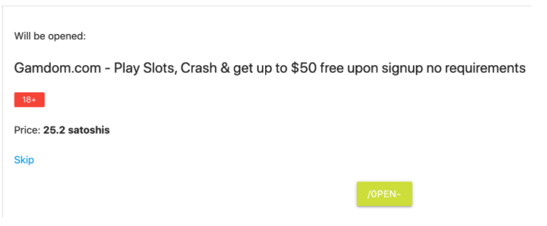 AdBTC ad surfing, pay to click example. 25 bitcoin satoshi payout