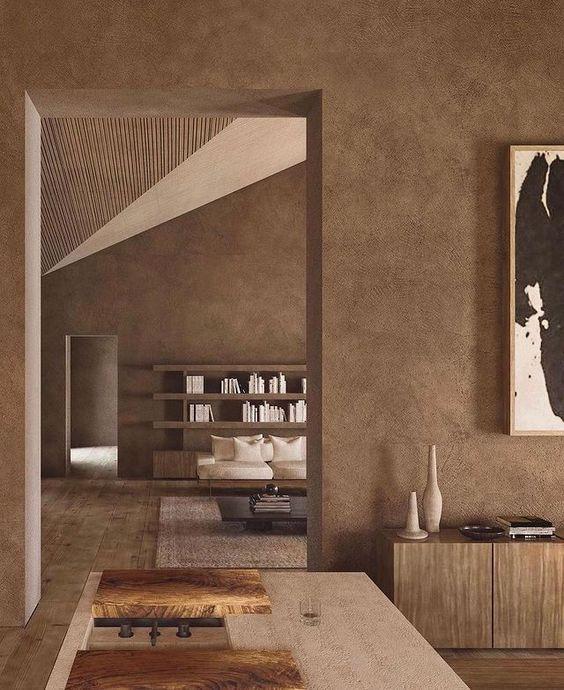 Sơn hiệu ứng Waldo-Sơn hiệu ứng-Không gian thiết kế thêm phần cổ điển, mộc mạc với tông màu nâu đất