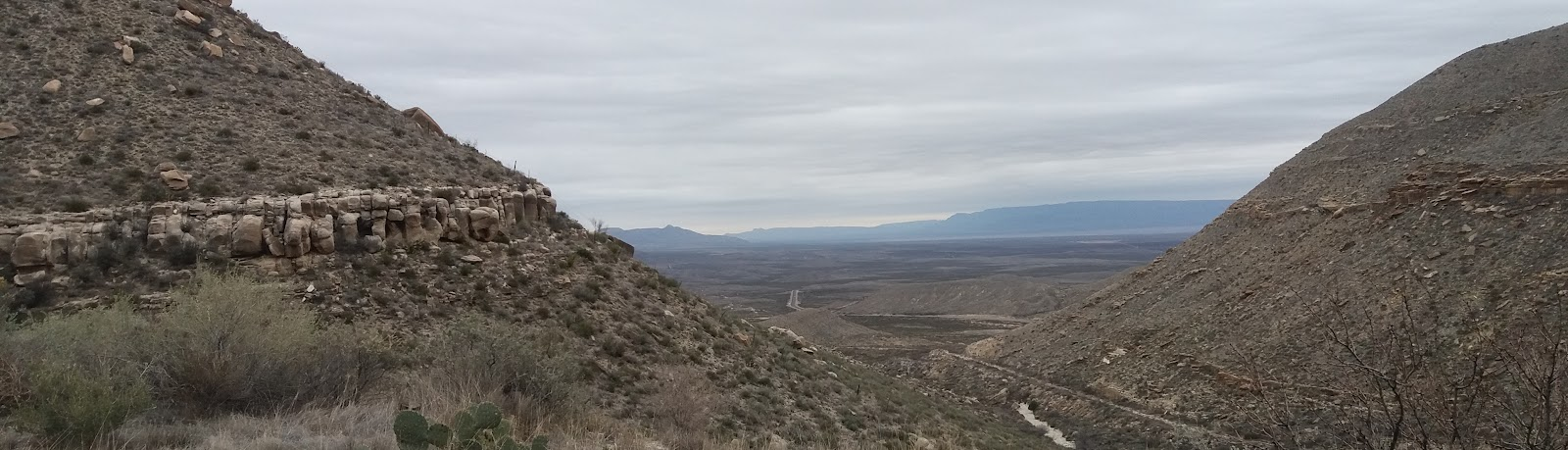 Cycling Guadalupe Mountains, roadway, plains and canyon
