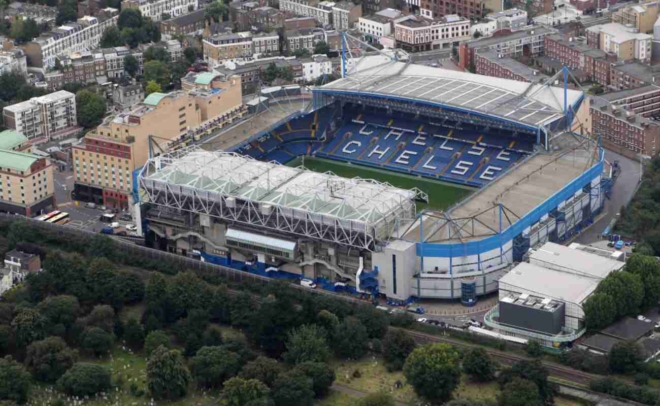 Stamford Bridge, home of Chelsea FC from an aerial view