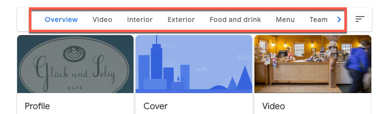 google my business for restaurants image overview