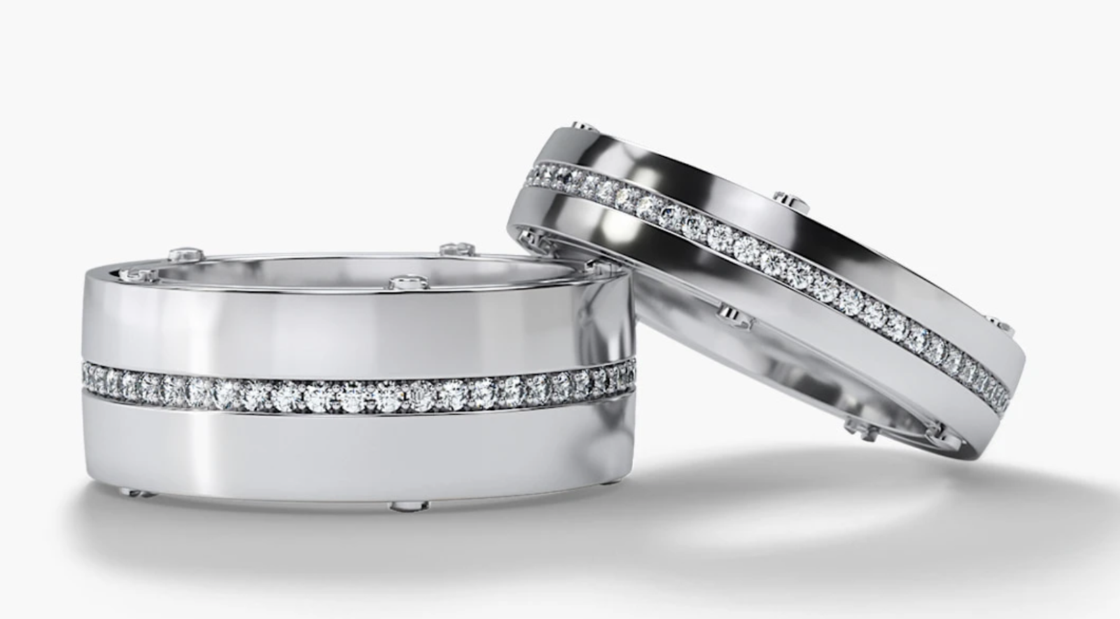 gold matching diamond wedding band set