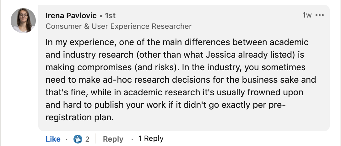 Irena's comment about games user research. Linked above