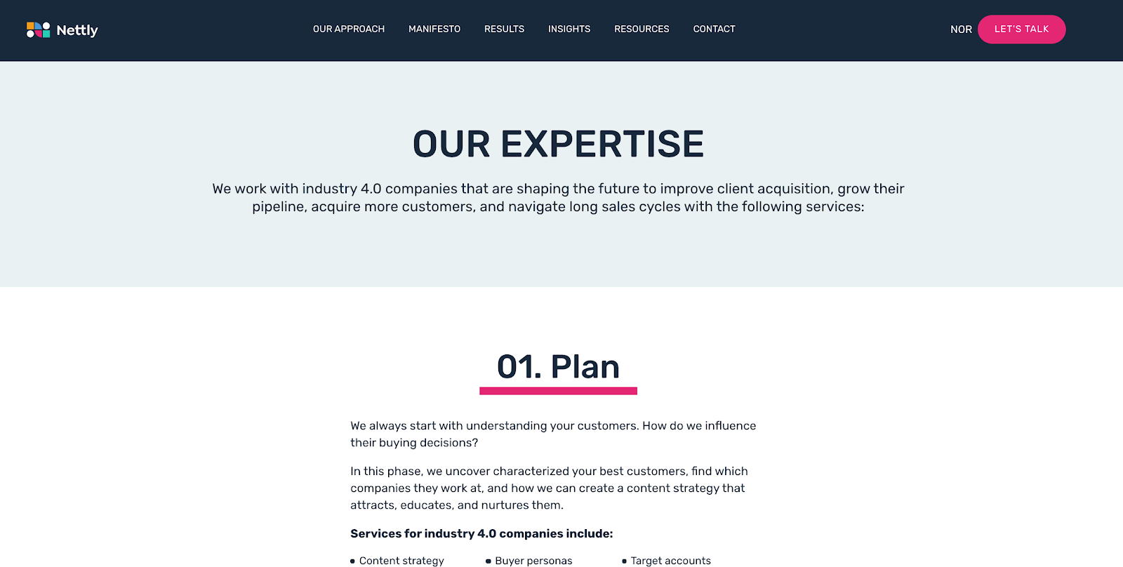 Nettly service page example