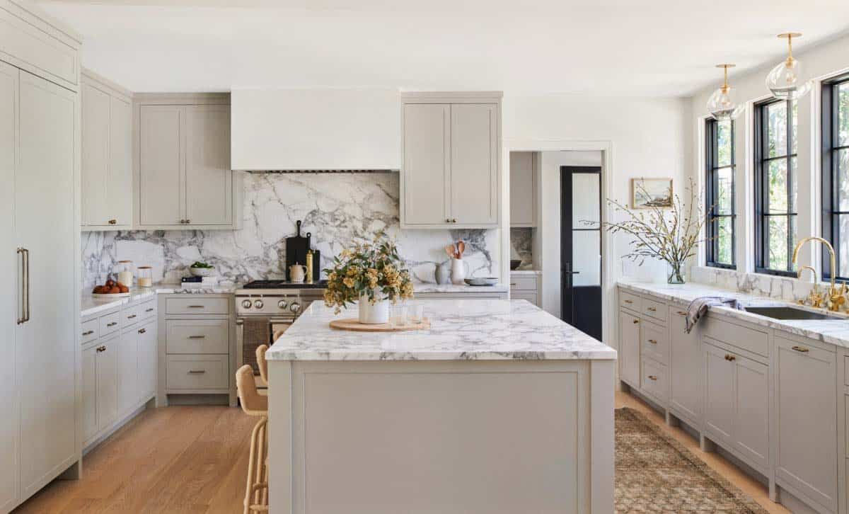 kitchen design taupe cabinets marble backsplash island buckhead
