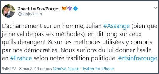 Tweet JSF L'acharnement sur Julian Assang en dit long sur ceux qu'ils dérangent