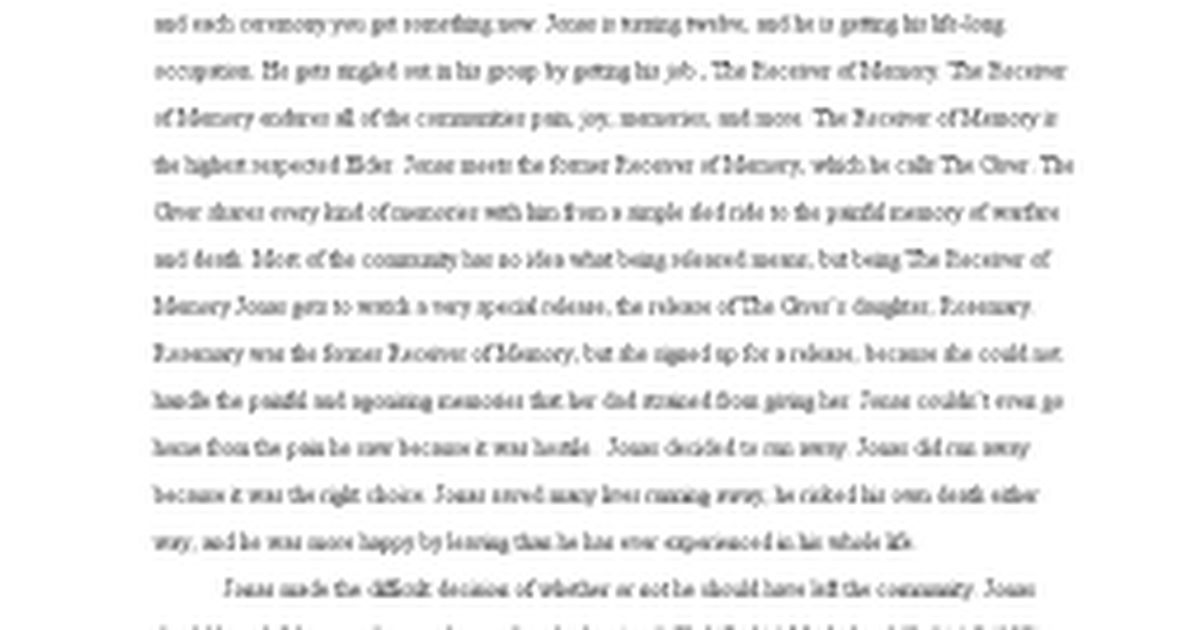 giver essay lucy google docs