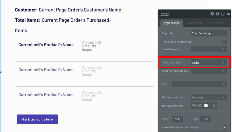 Configuring the page type of a Shopify clone app order