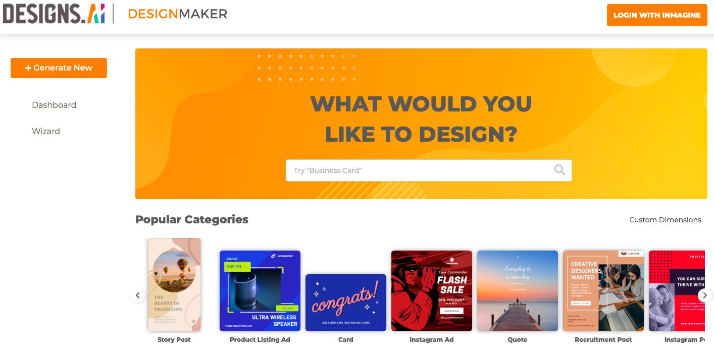Designmaker interface by Designs.ai