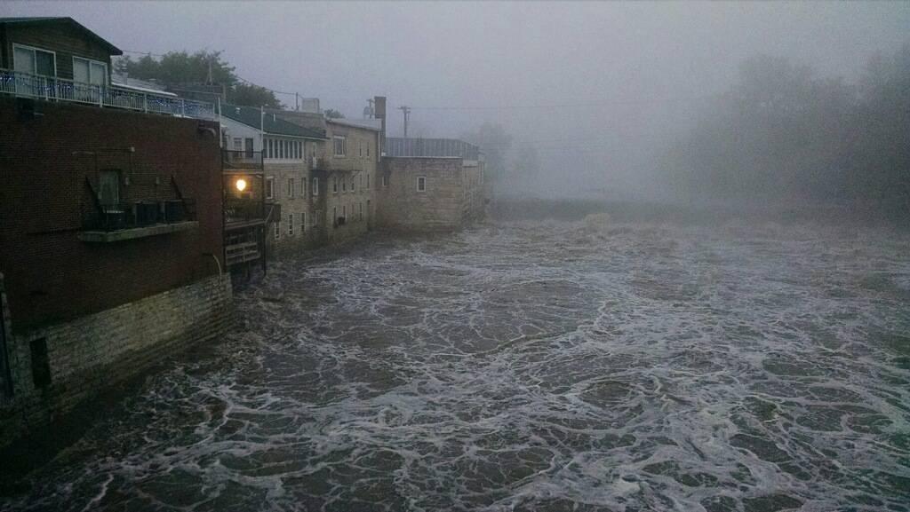 Flood swollen Turkey River in Elkader, Iowa