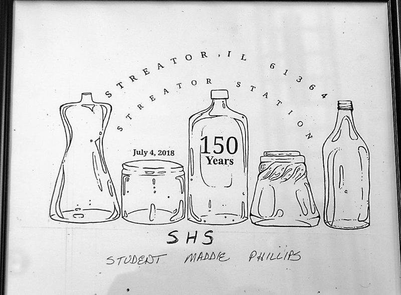 "Maddie Phillips, of Streator High School, said several people told her they think of the city's history as ""Glass Container Capital of the World"" when they think of Streator. She depicted that history in her postmark design submission."