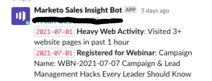 A message from our Marketo Sales Insight Bot that highlights a lead's interesting moment