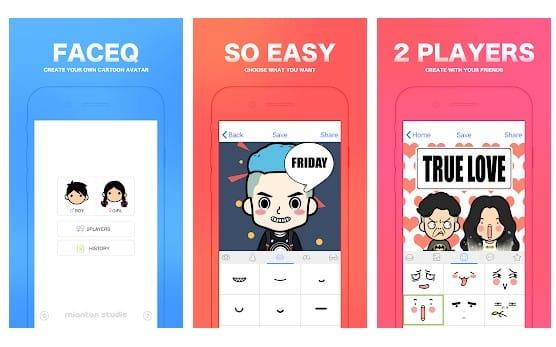 بيئة تطبيق Android FaceQ cartoon avatar تحويل صورة الى كرتون