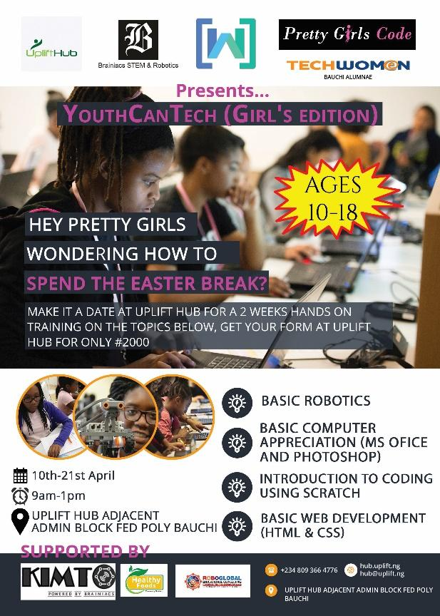 GIRLS IN BAUCHI SET TO LEARN CODING AND ROBOTICS AT THE YOUTHCANTECH DIGITAL LITERACY PROGRAM, POWERED BY TECHWOMEN, UPLIFT HUB,WOMEN TECHMAKERS AND BRAINIACS STEM & ROBOTICS
