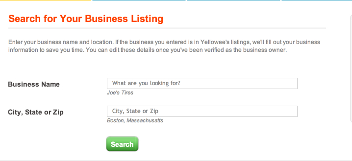 search for your business listing yellowee