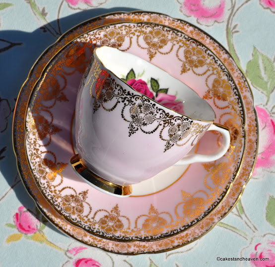 Imperial vintage tea cup trio in pale pink and gold
