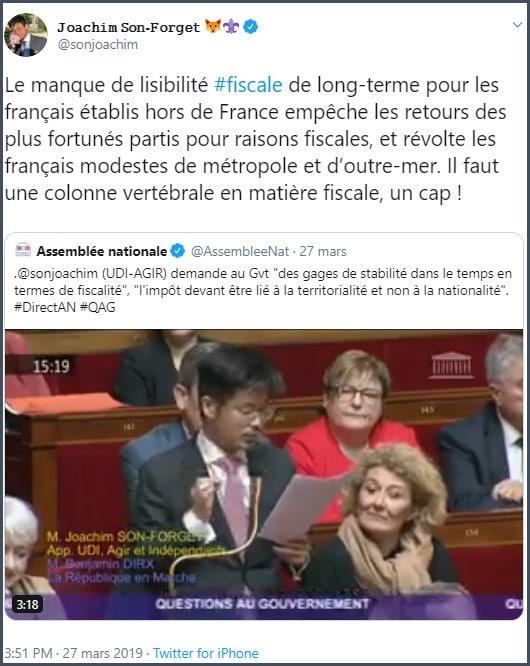 Tweet JSF Le manque de lisibilité fiscale de long-terme pour les Français établis hors de France empêche les retours des plus fortunés partis pour des raisons fiscales