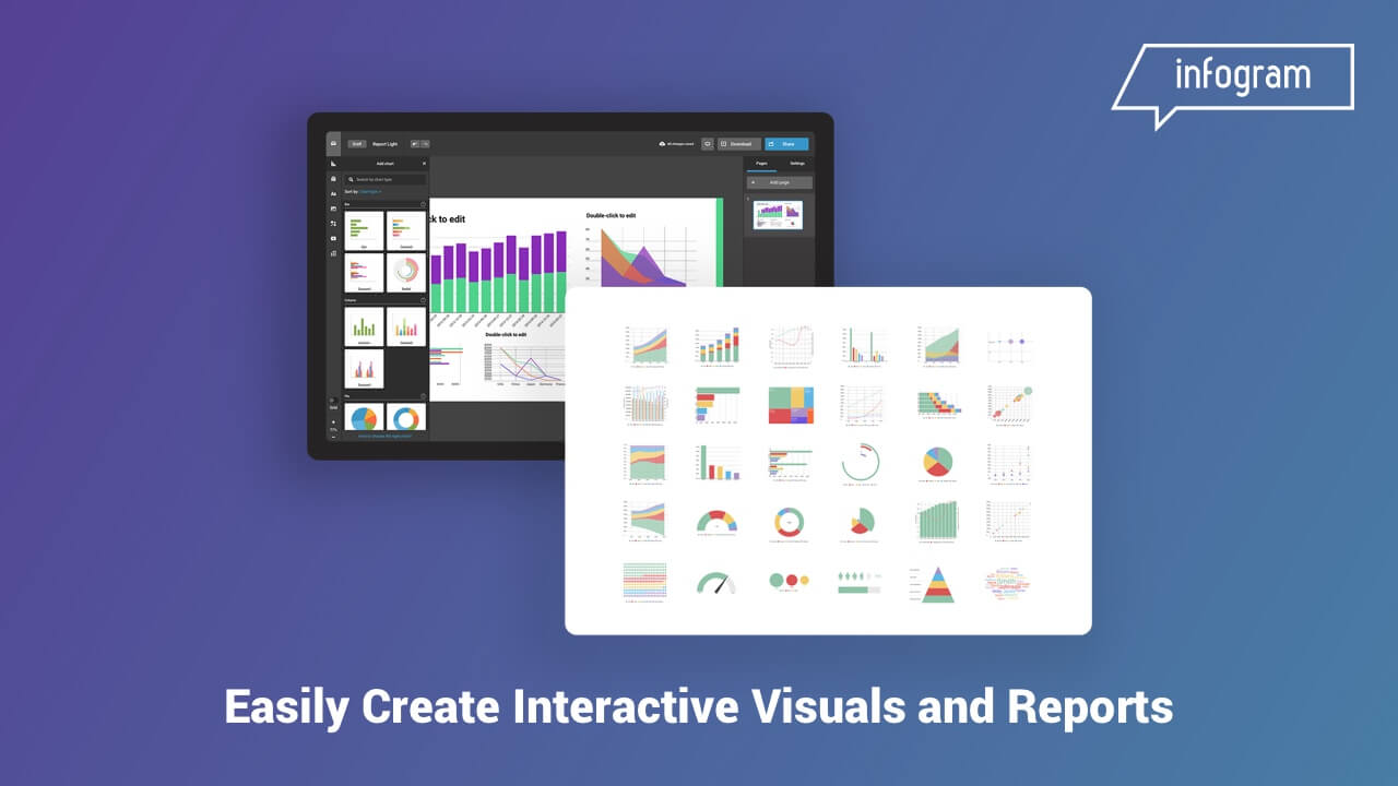 Infogram picture of 2 different interactive visuals