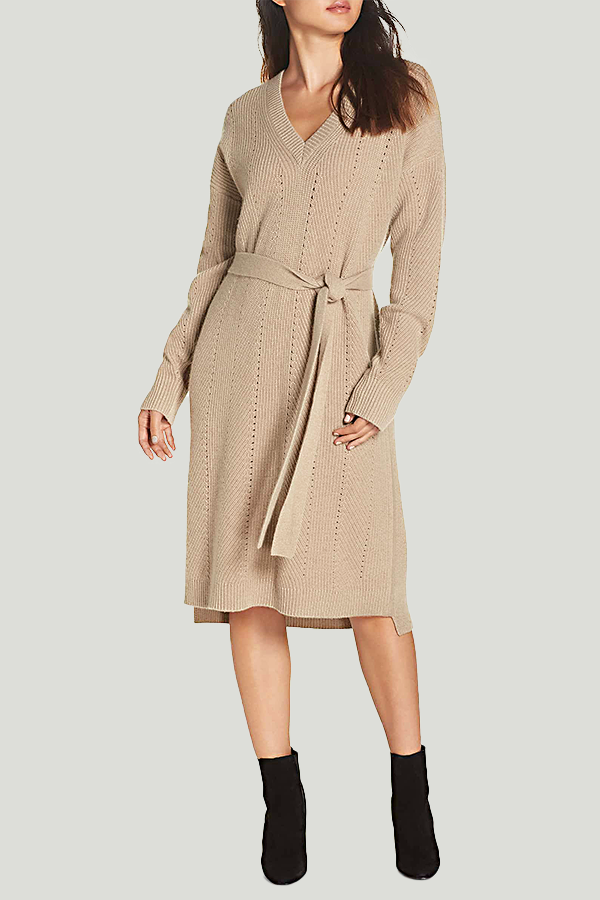 caara camel sweater dress