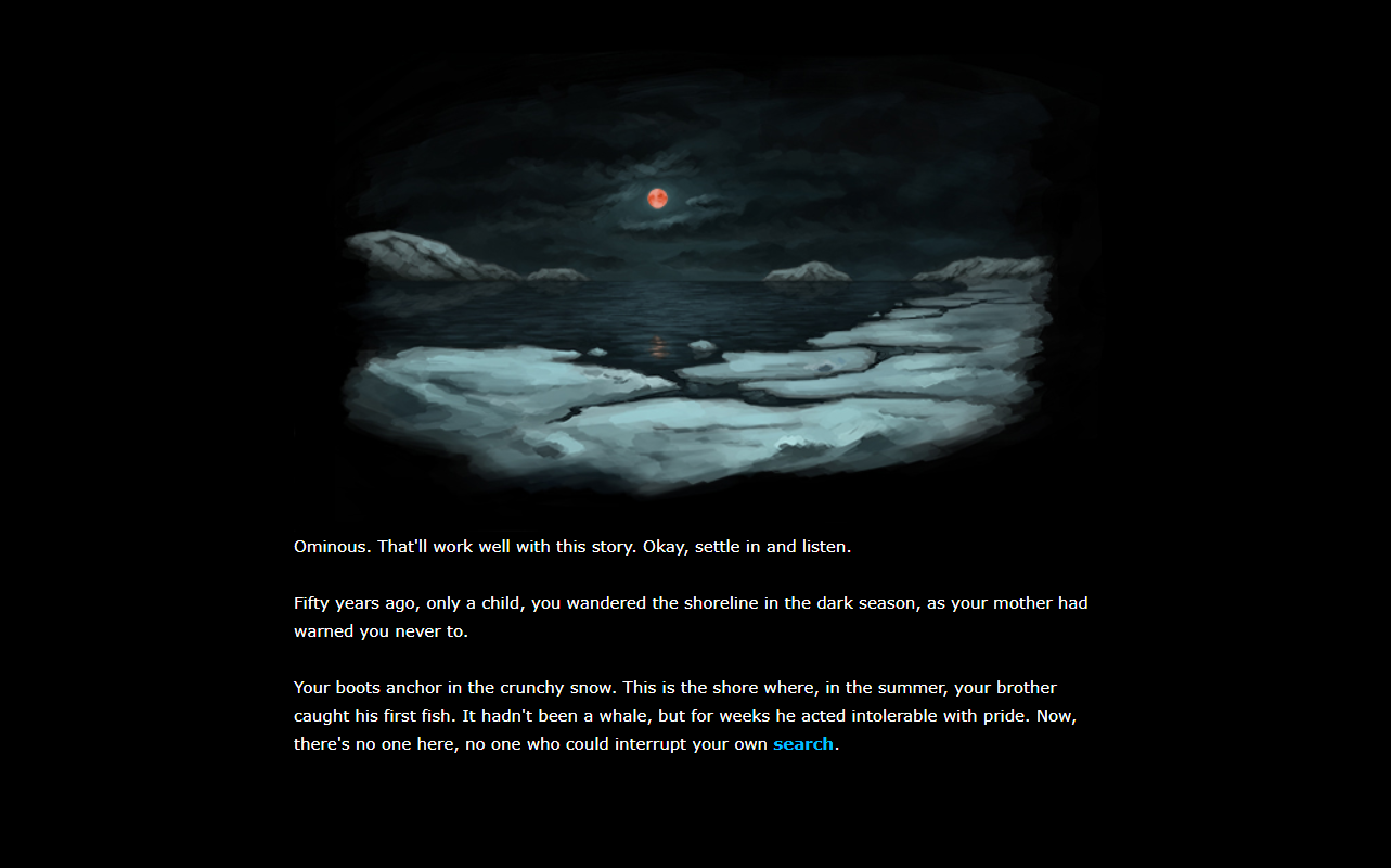 Beneath Floes showing an illustration of an icy shoreline above the story's text.