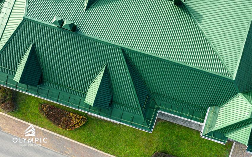 Lợp tôn Olympic màu xanh rêu cho công trình