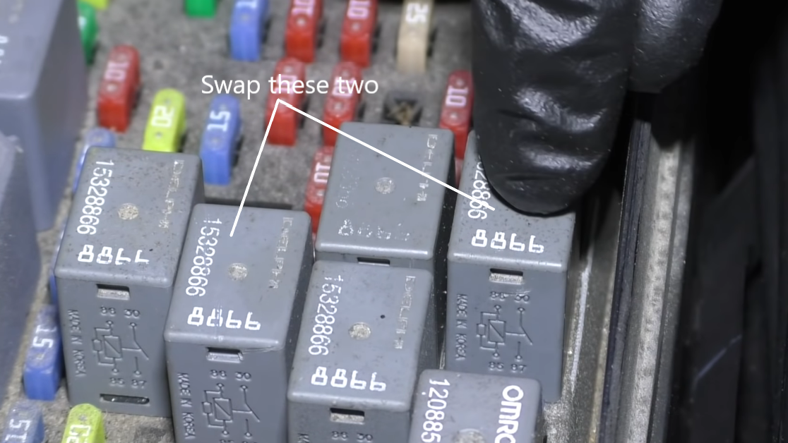 Swapping relay switches in a fuse box to test for bad relay.