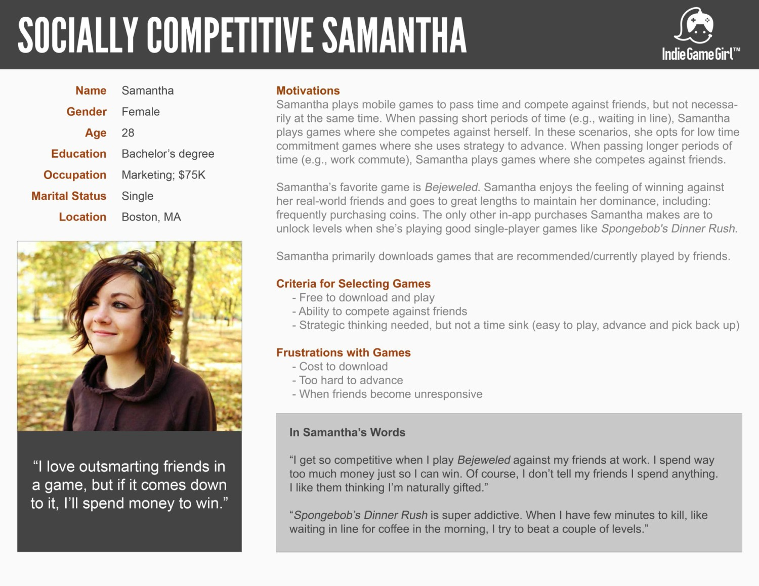Socially Competitive Samantha customer persona