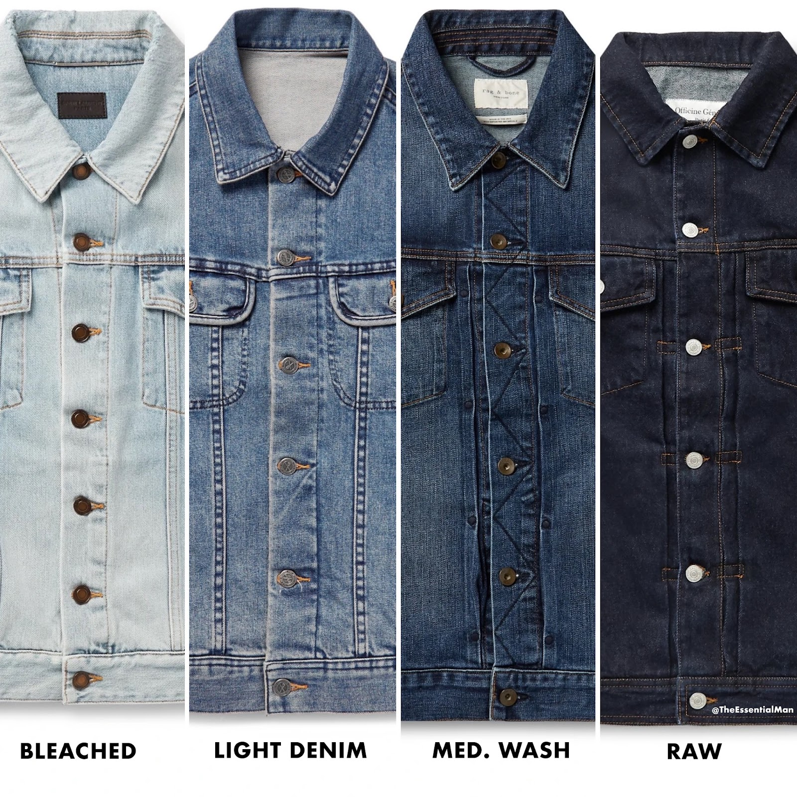 Different color washes of denim jackets